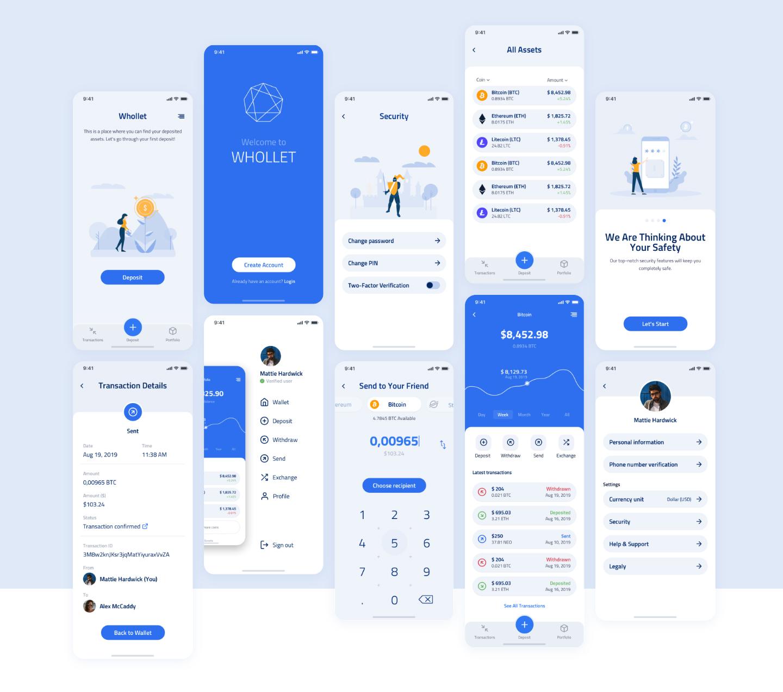 cryptocurrency wallet app ui kits